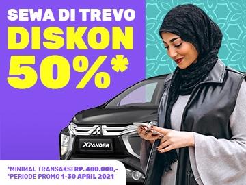Kode promo Trevo SDTREVO50 diskon 50% eksklusif sewa mobil terbaik