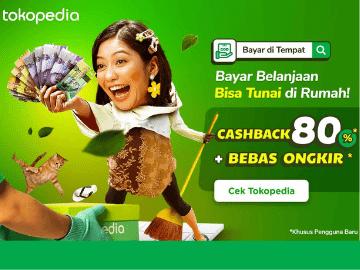 Promo Tokopedia COD cashback hingga 80% belanja online bayar di tempat